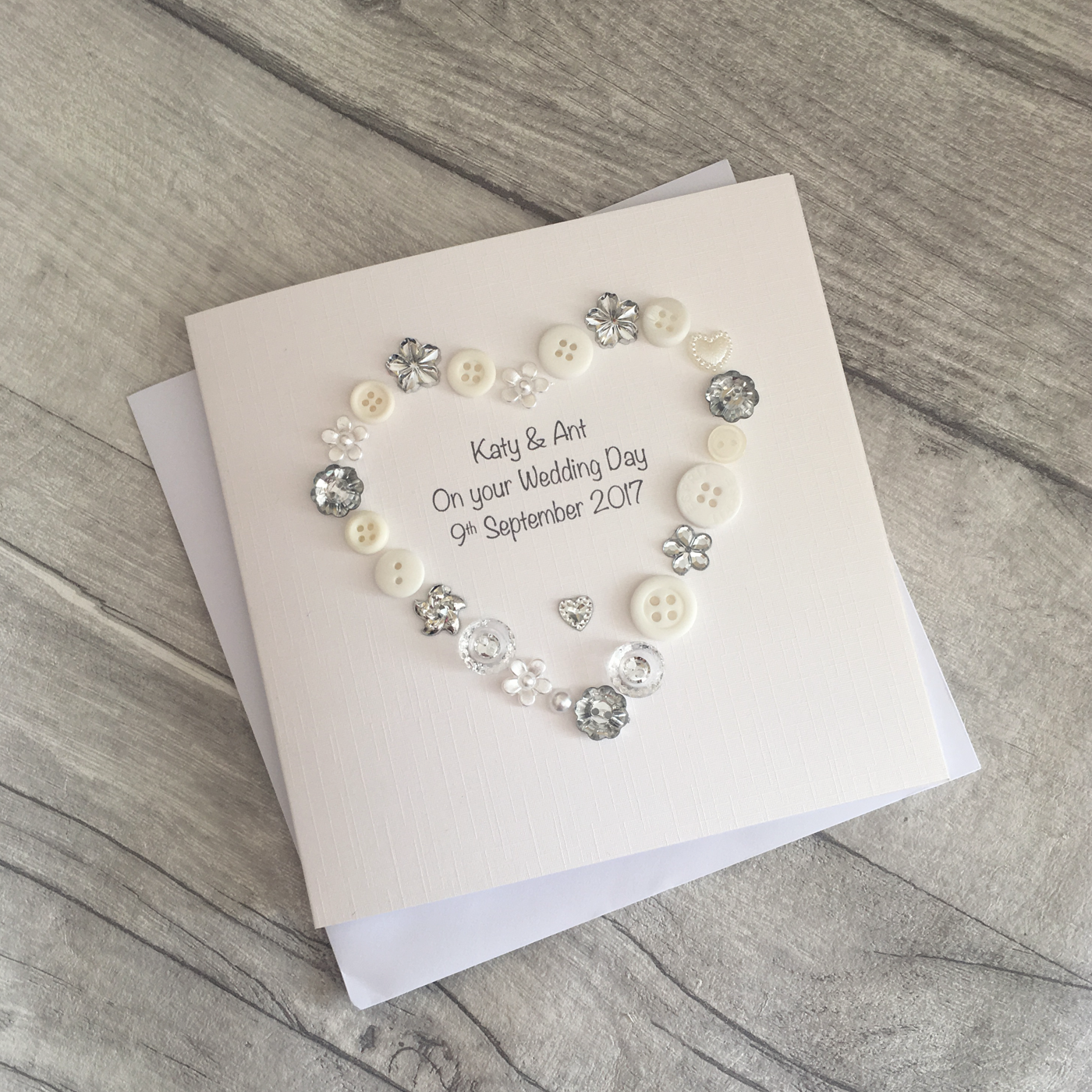 Button Wedding Day Card Personalised - Bride & Groom Card Handmade ...